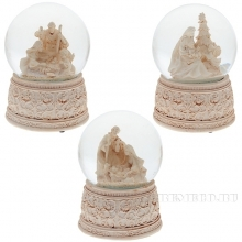 Фигурка декоративная в стеклянном шаре с музыкой Рождество, 3в., L11 W11 H15 см