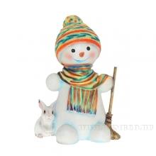 Фигура декоративная садовая Снеговик с зайчиком, L35 W32 Н50 см