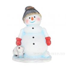 Фигура декоративная садовая Снеговик с ведром на голове, L30 W29 H40 см