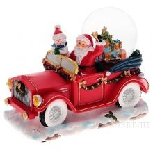 Музыкальная композиция Санта в автомобиле с подсветкой и генератором вьюги, L22 W13 Н 17 см (тип б