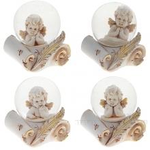 Фигурка декоративная в стеклянном шаре Ангел, L5,5 W5 H6,5 см, 4 в.