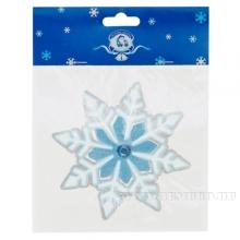 Новогодяя витражная наклейка Снежинка 12 см