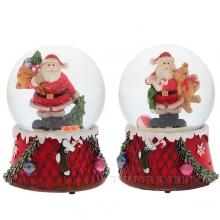 Фигурка декоративная в стеклянном шаре Санта с музыкой, L11 W10,5 H14,5 см, 2 в.