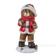 Фигура декоративная Мишка с подарком (цвет красный)L8W6H16см