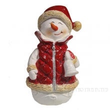Фигура декоративная Снеговик с колокольчиком , L8W7H11.5 см