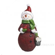 Фигура декоративная Снеговик с ведром L11W8H19