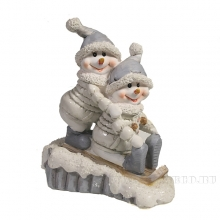 Фигура декоративная Снеговики на лыжаж L11W5H13.5