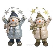 Фигура декоративная Снеговик со звездами , L9W5H13, 2в.