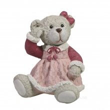Фигура декоративная Мишка в платье вид №2 (розовый)L7.5W8H9.5