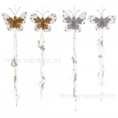 Новогоднее украшение Бабочка, H70 см, 4в.  Новогодние украшения с бисером, пайетками.