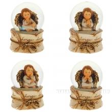Фигурка декоративная в стеклянном шаре, 65 мм, 4 в.