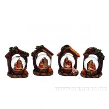 Фигурка декоративная в стеклянном шаре Рождество, 4 в., L8 W6 H9 см