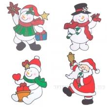 Наклейка витражная Снеговик, Санта, 4 в., L17 W0,12 H23 см