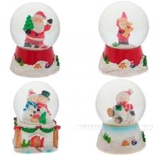 Фигурка декоративная в стеклянном шаре Снеговики, Санта, L8 W8 H10,5 см, 4 в.