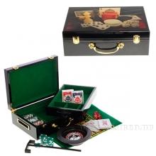 Настольная игра Покер (100 фишек, рулетка, сукно, карты, кости ), L 33,9 W 24 H 11 см