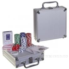 Настольная игра Покер в металлическом кейсе (100 фишек), 22,3х23,6  H7,7 см