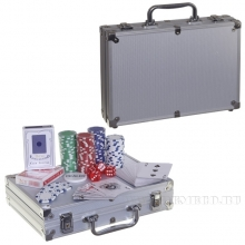 Настольная игра Покер в металлическом кейсе (200 фишек), 31,3х23,6  H7,7 см