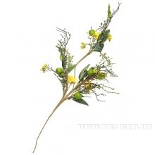 Ветка с полевыми цветами и яблоками 75см