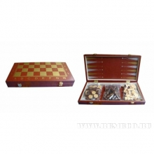 Игра настольная 3 в 1  (шахматы, шашки, нарды) L40 W20 H5,3см, футляр-иск кожа
