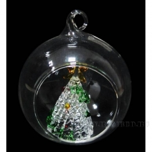 Новогоднее украшение Ёлка в стеклянном шаре, L 8 W8 H9,5см, 2 в.