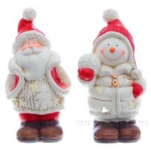 Подсвечник Санта, Снеговик, L11 W9 H20,5 см, 2 в.