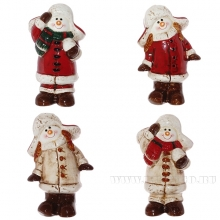 Фигурка декоративная Снеговик, L7,1 W4,4 H10,6 см, 4 в.