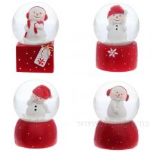 Фигурка декоративная в стеклянном шаре Снеговик 4 в. 45 мм