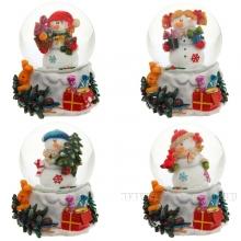 Фигурка декоративная в стеклянном шаре Снеговик, 4 в. 65 мм
