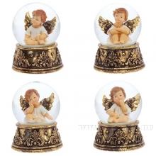 Фигурка декоративная  Ангел в стеклянном шаре, 65 мм, 4 в.