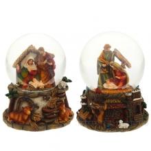 Фигурка декоративная в стеклянном шаре с музыкой, 100 мм, 2 в.