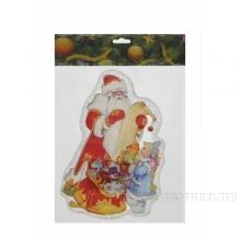 Наклейка витражная Дед Мороз со снегурочкой, 20х0,16х25 см, 2 в