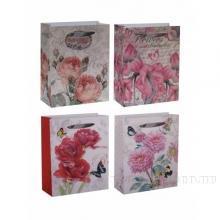 Подарочный пакет (бумага, плотность 128 г/м2, блок 12шт), 23х8,5 H32см, 4в