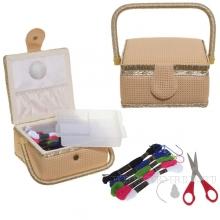 Шкатулка для рукоделия с подносом и набором для шитья, L19,5 W19,5 H11см