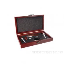Набор сомелье 5пр (штопор, кольцо, 2 пробки, спиртометр) в деревянной подарочной коробке, L23 W13 H4