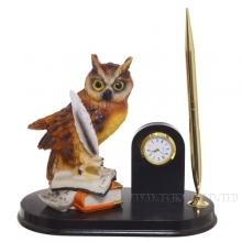 Настольный набор Сова (ручка, часы) L23 W13 H20см