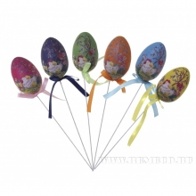 Набор из 6-ти декоративных украшений Яйцо на палочке, L4 W6 H23см
