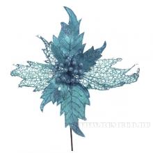 Елочное украшение Пуансеттия, 48см голубая