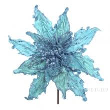 Елочное украшение Пуансеттия, 33см, голубая