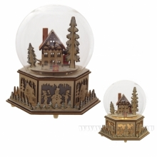 Фигурка декоративная в стеклянном шаре с функцией движения, подсветкой и музыкой, 19x16x20 см (2XAAA