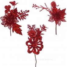 Новогоднее украшение Цветок, H 18 см, 3в. (без инд.упаковки)