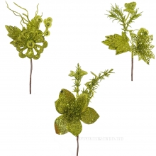 Новогоднее украшение Цветок, H 19 см, 3в. (без инд.упаковки)
