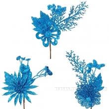 Новогоднее украшение Цветок, H 20 см, 3в. (без инд.упаковки)