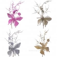 Новогоднее украшение Бабочка, H 40 см, 4в. (без инд.упаковки)