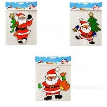 Наклейка витражная Санта, 13х0,12х18 см, 3 в