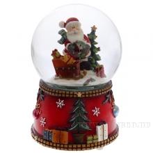 Фигурка декоративная в стеклянном шаре с музыкой, с подсветкой и с генератором вьюги, D100 мм (3хААА