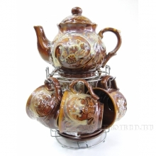 Набор из чайника (20х15см), 6 чашек (8,5х7см), 6 блюдец (13см)