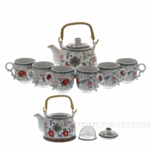 Набор: Чайник (1000мл) 18x14x13.5 см и 6 кружек (150мл) 7.5x7.5x7.5 см