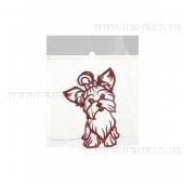 Елочное украшение Собака пушистик с бантиком, Н 11,5 см (красная)