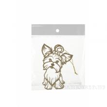 Елочное украшение Собака пушистик с бантиком, Н 11,5 см (золотая)
