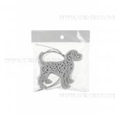 Набор из 3  шт елочных украшений Собака в вензелях, Н 9 см (белая)